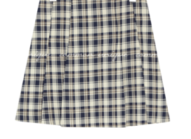 Pleat Accent Check Mini Skirt