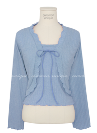 Ribbed Knit Cami and Frilled Cardigan Set