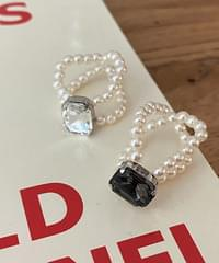 Swan Cubic Pearl Ring 4color