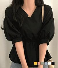 Before flare wrap blouse