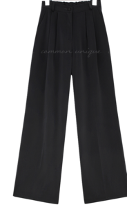 Wide Leg Semi-Elasticized Waist Slacks