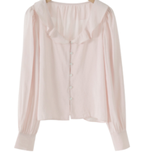 Leaf Frill Round Blouse