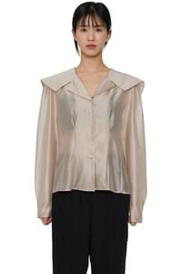 Cape silky sheer blouse