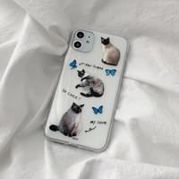 Cat and Blue Butterfly Transparent Jelly iPhone Case