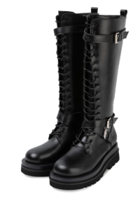 Mid-buckle lace-up walker boots