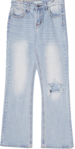 Lined destroyed wide denim trousers