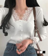 Lace Girls Pearl Ribbed Knitwear