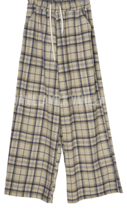 Autumn check wide banding trousers