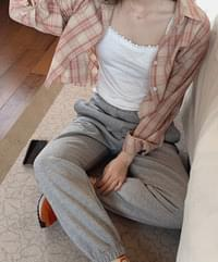 Freener check cropped shirt