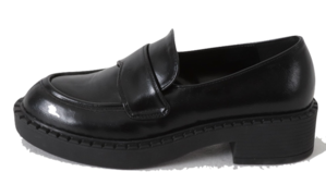 Black chunky penny loafers