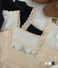Moa lace square-neck blouse