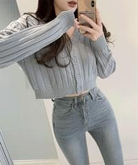 Give Love Crop V-Neck Twisted Knitwear Cardigan