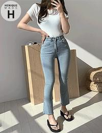 Exceeded 9,000 pieces 155cm skinny-looking jeans Hidden banding tall 8-piece hem cut high denim Flared pants