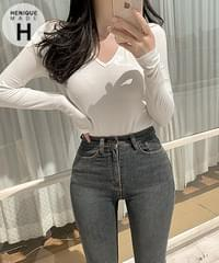 Your own glam mood Ribbed V-Neck long-sleeved T-shirt