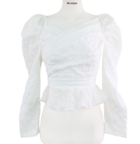 ♥♥ Hobbies are Love Frill Ribbon Strap Puff V-Neck Wrap Off Shoulder Blouse