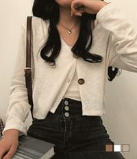 Wood Button Booklet Sleeveless Cardigan Two-Piece Set