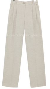 Pleated Straight Wide Leg Pants