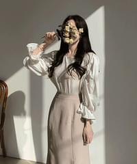 Love Me frill puff-sleeve blouse
