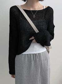 Tape Crop Net Knitwear