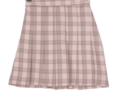 Late check pleated mini skirt