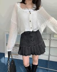 Net Loose-fit see-through V-Neck cropped cardigan