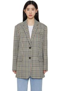 Grand check single blazer
