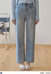 Whiskered Wide Leg Jeans