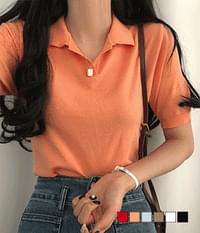 Cash Edition Collar Short Sleeve Knitwear