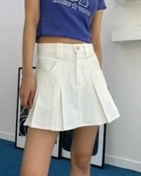 Cotton pintuck pleated mini skirt