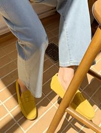 Color suede flat loafers