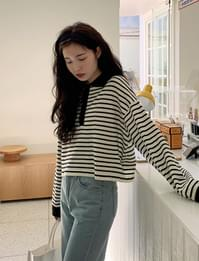 Kitty Stripe Crop Knitwear Tee