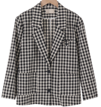 French checked linen jacket