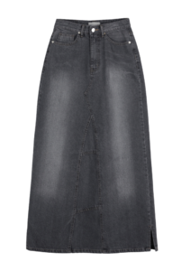 Cheat denim maxi long skirt