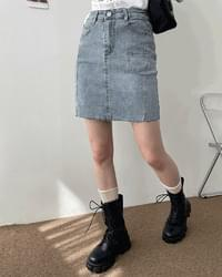 Ario pocket Split cut denim skirt