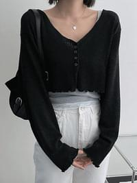 Moco Button Crop Cardigan