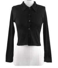 Happy ending cropped collar button cardigan T-shirt
