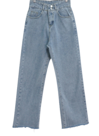 Two-button straight cut denim pants