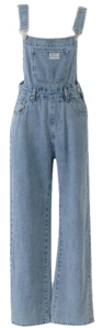 Blue Faded Denim Overall Pants