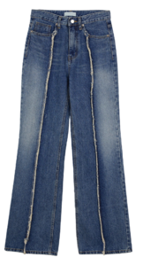 Fringed pintuck Flared jeans