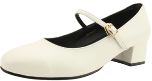 Mary Jane Comfort Middleheel Shoes White