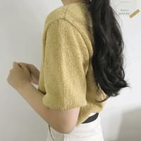 Mother-of-pearl button unfoot cardigan