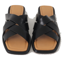 Bold Strap Leather Slippers