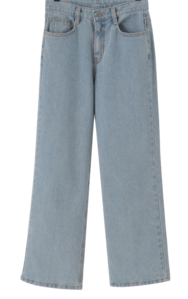 High-Wide Straight Denim Pants
