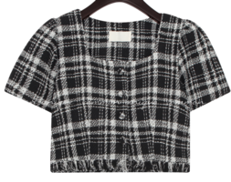 HERREN CHECK TWEED CROP 1/2 BLOUSE