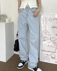 Atom Light Blue Slab Summer Long Wide Denim Pants