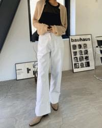 Stitched wide roll-up denim trousers