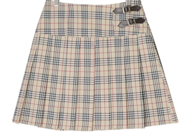 Buckle check pleated mini skirt