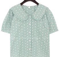 Fill-Trimmed Collar Floral Blouse