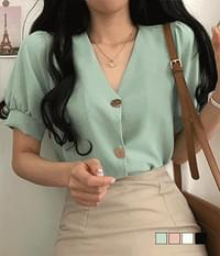 Lyle gold button short sleeve blouse