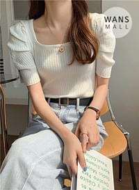 kn4200 Pulse Shoulder Puff Short Sleeve Knitwear